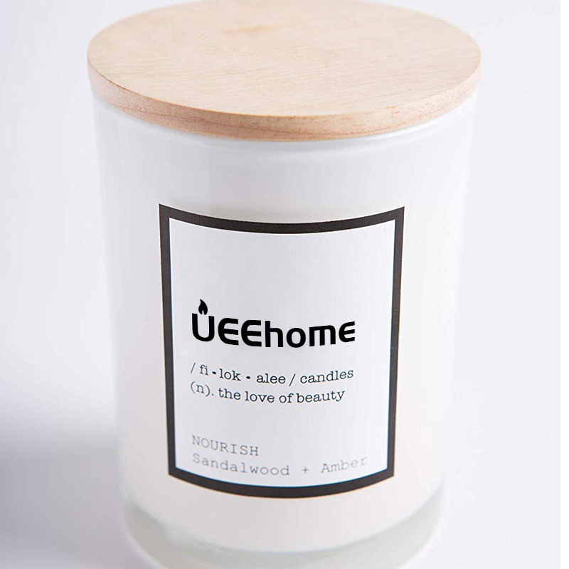 Scented Recycled Glass Jar Soy Wax Candle with Cotton Wick &  Sandalwood & Amber