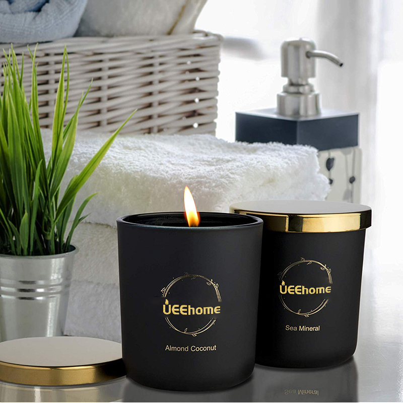 Luxury Aroma Scented Soy Wax Candles in Matte Black Glass Jar