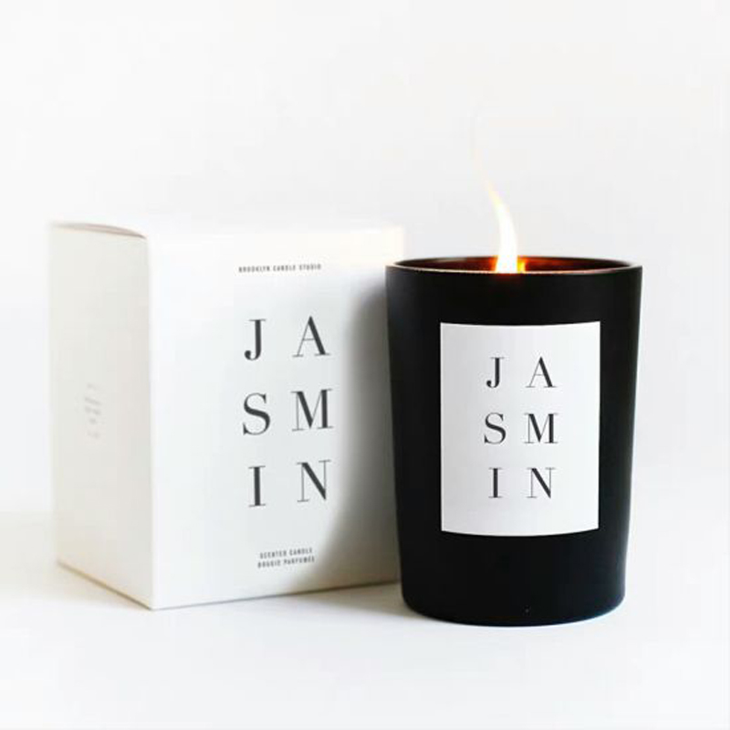 Best Jasmine Scented Soy Wax Candles in Black Glass Jar