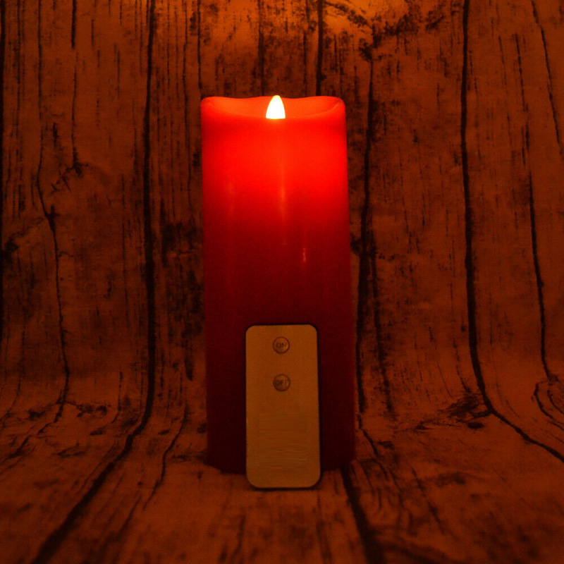 Red Christmas Remote Control Flickering Led Flameless Pillar Candles Set of 3 with Flickering Fireless Flame