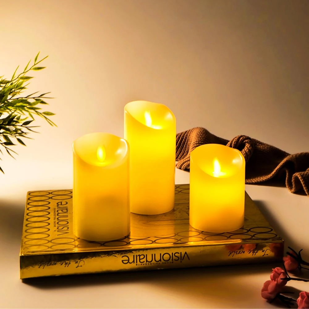 moving wick flameless candle, dancing flame candle