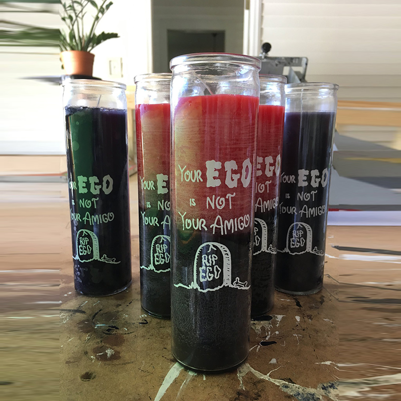 Your Ego is not your Amigo 7 day glass prayer candles