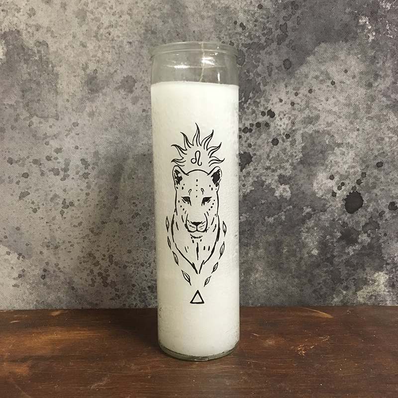 Leo zodiac sign hand printed 7 day prayer candles