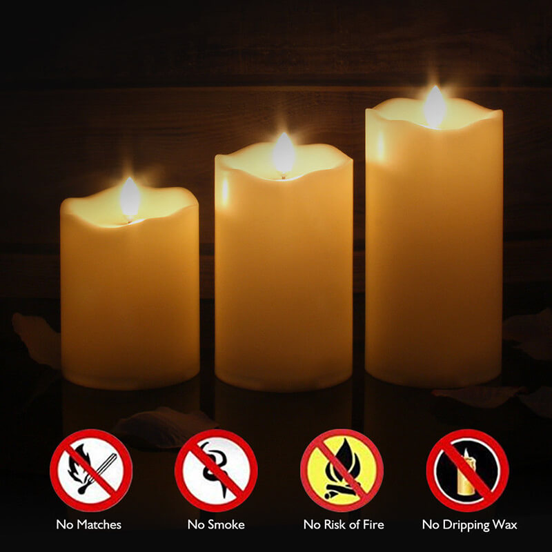 Flameless Candles Led Battery Operated with Remote Control Timer Flickering Flame White Pillar Candle Lights