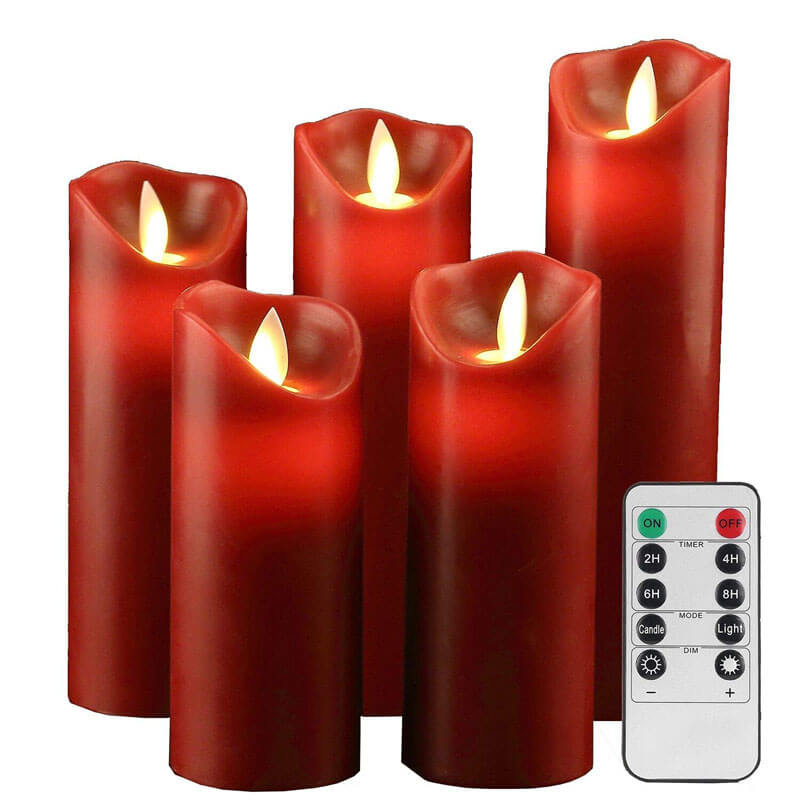 Red Real Wax LED Moving Wick Flameless Candles Set of 5 with Battery Operaterd Control