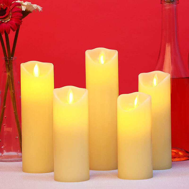 Ivory White Flickering LED Flameless Candles Set of 5 with Moving Flame