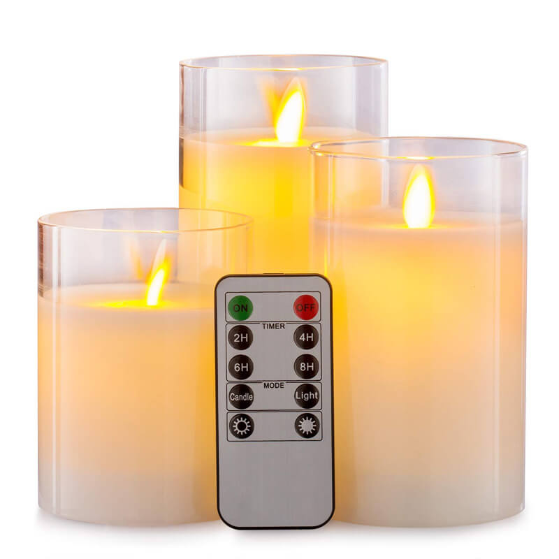 Moving Wick Led Flameless Candle in Glass Jar