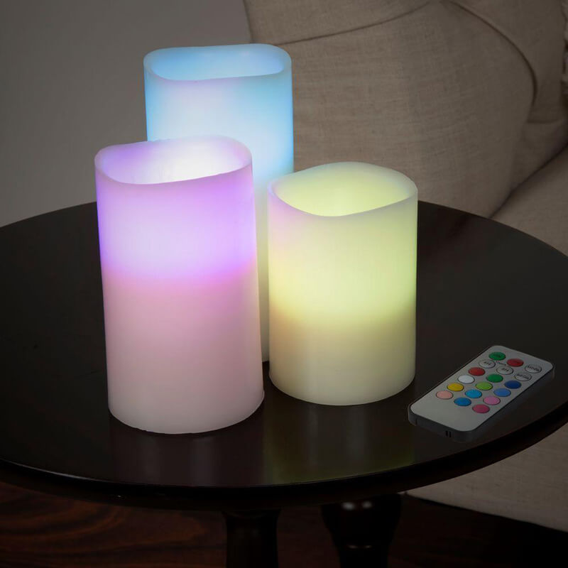 6 Inch Color Changing LED Flameless Candle Set with Remote (3-Piece)