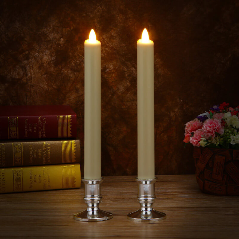 Ivory Color Real Wax Flameless Led Taper Candles