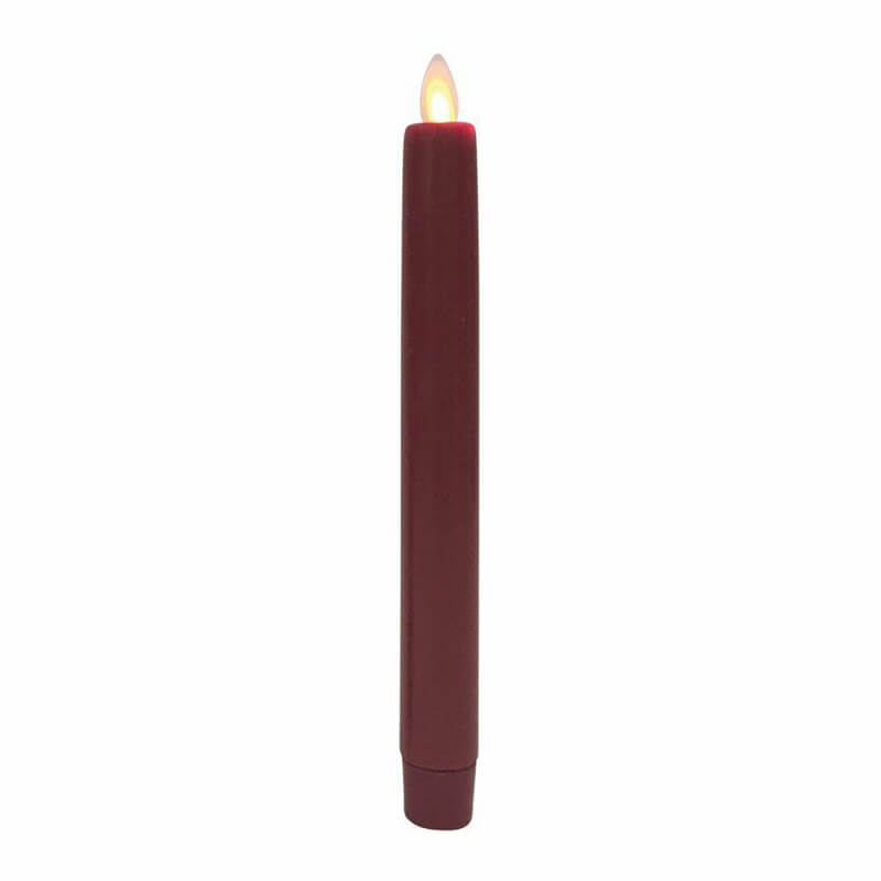 Set of 2 Red Unscented Wax Flameless Taper Candle with Flickering Wick