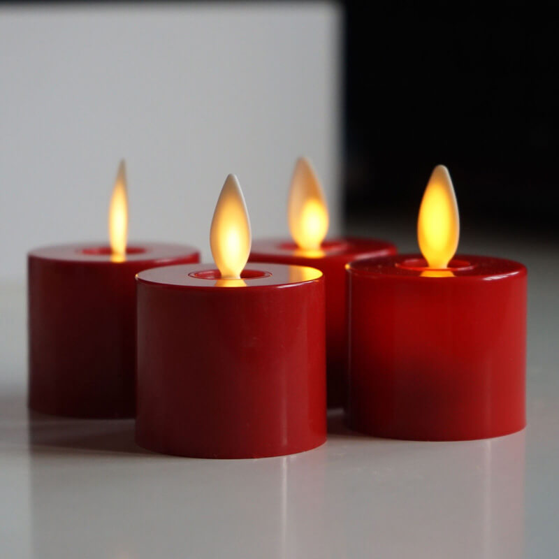 Ivory White/ Red Flameless Led Tealight Candles