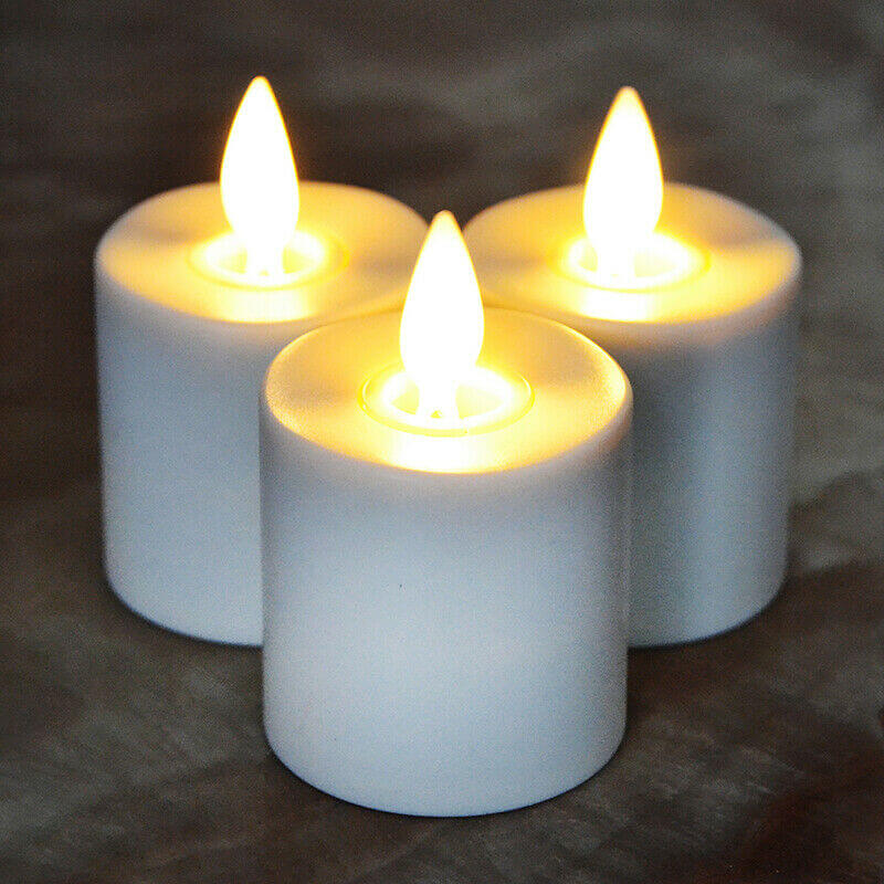 Bronze Base Moving Wick Led Tealight Candles Set of 6
