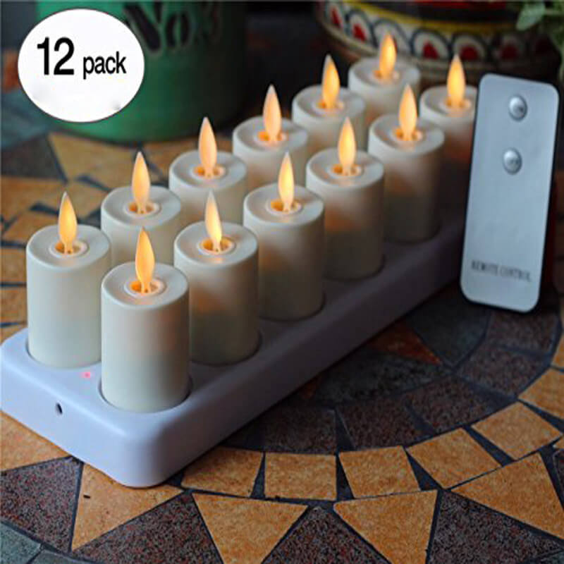 12 Charging Based Dancing Flame LED Flameless Tealight Candles