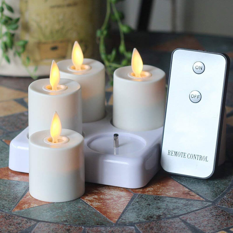 Remote Control LED Flameless Tealight candles with 4 Rechargeable Charing Base