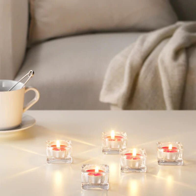 Aluminum Cup Scented Tealight Candles with Sweet vanilla, Red garden berries, Peach and orange scents