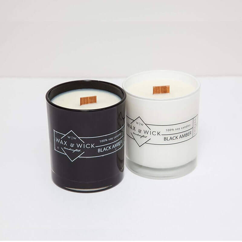 Black & White Sweet Scented Glass Jar Candle