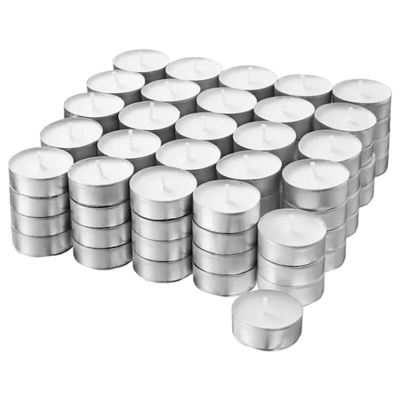 100 Pack Unscented Tealight Candles in Aluminum Cup