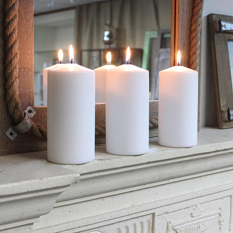 Unscented Natura Block Pillar Candle Set of 5
