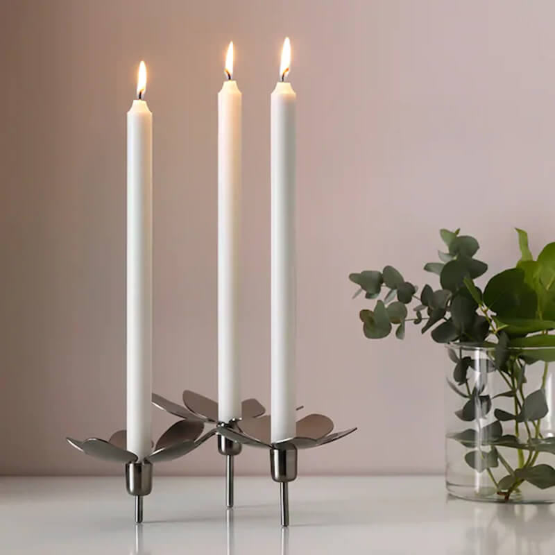 12 Hours 8 Pack White Unscented Taper Candles