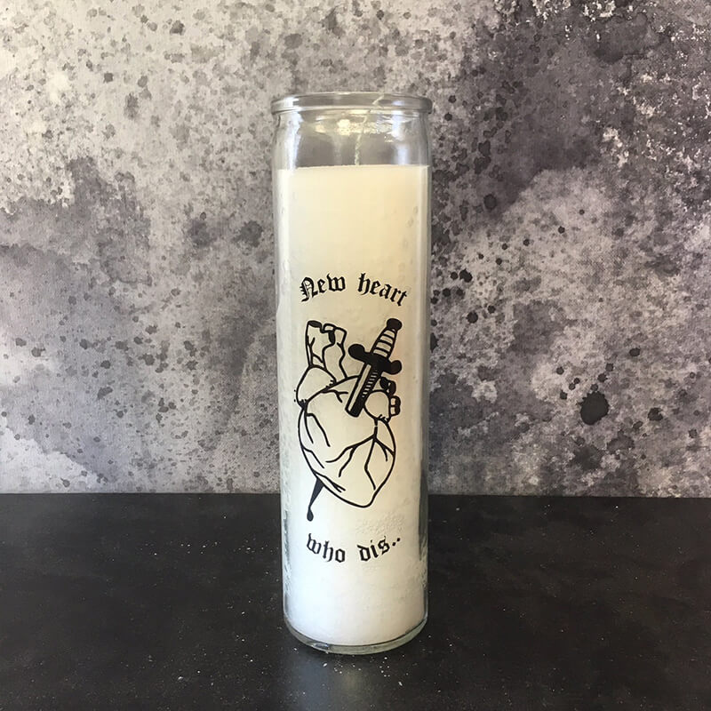 New Heart Who Dis silk-screened 7 day candles